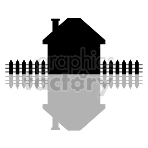 house with picket fence graphic design clipart. Commercial use image # 416491