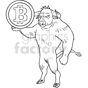 bull holding bitcoin clipart. Commercial use image # 416666