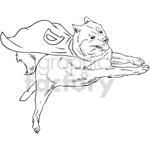 clipart - black and white dogecoin superdog vector clipart.