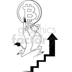 black and white cartoon bull carrying bitcoin vector clipart clipart. Commercial use image # 416696