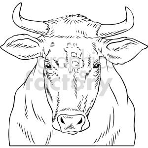 black and white bitcoin bull vector graphic