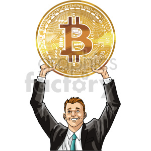 man holding large bitcoin vector clipart clipart. Commercial use image # 416699