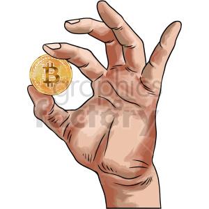 hand holding bitcoin vector clipart