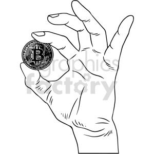 black and white hand holding bitcoin vector clipart clipart. Commercial use image # 416709