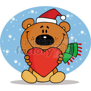 a brown bear in a santa hat holding a red heart clipart. Commercial use image # 377811