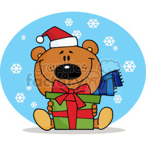 A Christmas Bear holding a present clipart. Commercial use image # 377813