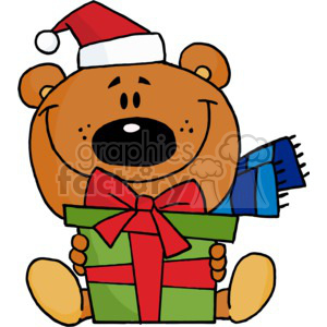 a teddy bear hold a christmas present clipart. Commercial use image # 377815