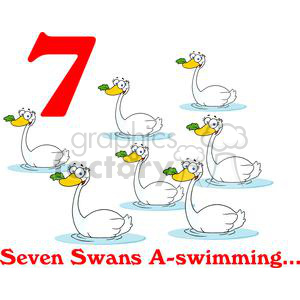 On the 7th day of Christmas my true love gave to me Seven Swans A swimming clipart. Commercial use image # 377869