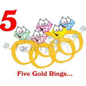 On the 5th day of Christmas my true love gave to me Five Gold Rings clipart. Commercial use image # 377889