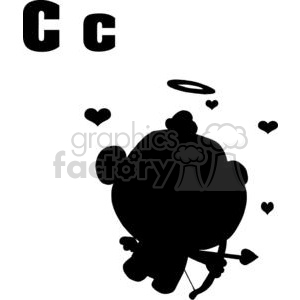 alphabet letter c cupid silhouette with bow and arrow