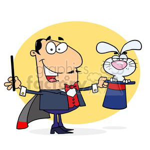 magician with a white rabbit popping out of his hat clipart. Royalty-free image # 377913