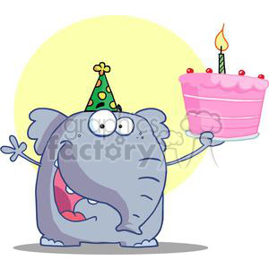 Blue elephant wearing a green and yellow party hat holding a pink happy birthday cake with one candle