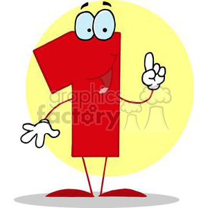 Happy Number 1 in red clipart. Royalty-free image # 377923