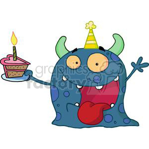 Happy Blue Monster Celebrates Birthday With cake clipart. Commercial use image # 377928