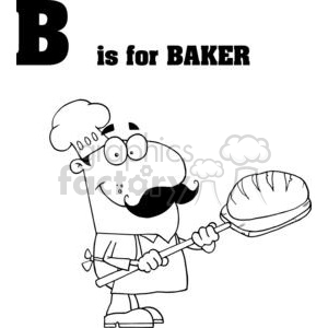 alphabet letter b baker with bread and mustache