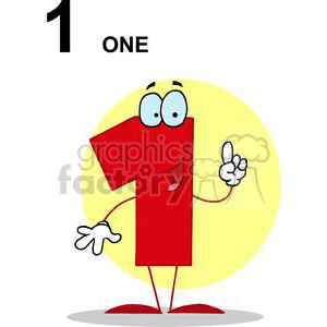 Happy Number 1 holding one finger up clipart. Royalty-free image # 377948