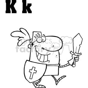K as in Kinght with Sword and Shield clipart. Commercial use image # 377958