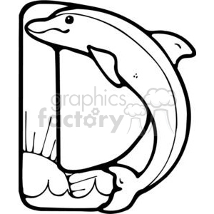 cartoon black white letter d dolphin dolphins