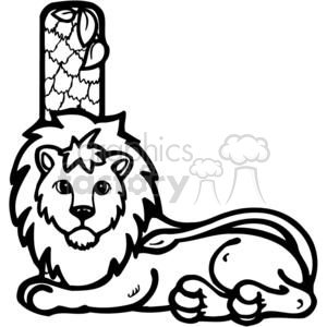 cartoon black white lions lion letter l