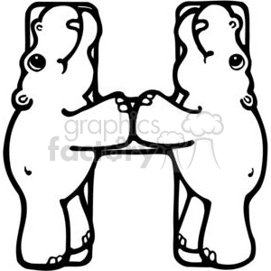 cartoon black white h hippo hippopotamus
