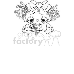 cartoon little girl doll with small kitty clipart. Commercial use image # 380254