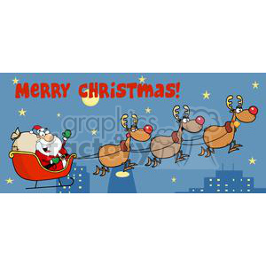 3005-Christmas-Santa-Sleigh-And-Reindeer clipart. Commercial use image # 380319
