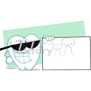 2931-Smiling-Tooth-Cartoon-Character-Presenting-A-Blank-Sign clipart. Commercial use image # 380324