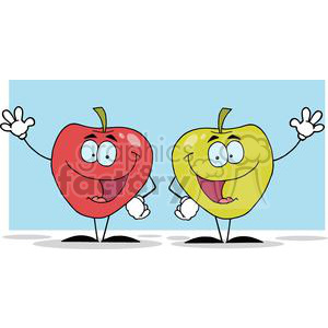 2850-Happy-Cartoon-Apples-Waving-A-Greeting clipart. Royalty-free image # 380329