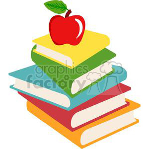 2726-Elementary-School-Design-Books-And-Apple clipart. Commercial use image # 380339