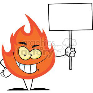 2900-Flame-Cartoon-Character-Holding-A-Blank-White-Sign clipart. Royalty-free image # 380344