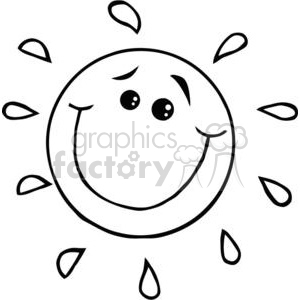 2734-Smiling-Sun-Cartoon-Character clipart. Commercial use image # 380354