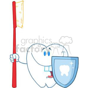 2921-Happy-Smiling-Tooth-With-Toothbrush-And-Shield clipart. Commercial use image # 380359