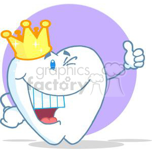 Smiling tooth with golden crown clipart. Royalty-free image # 380389