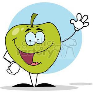 2832-Happy-Cartoon-Apple-Waving-A-Greeting clipart. Royalty-free image # 380394