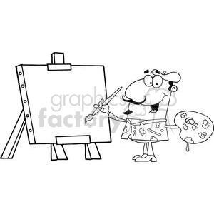 2809-Artist-Painter-Paint-On-A-Canvas clipart. Commercial use image # 380399