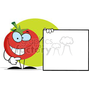 2888-Red-Tomato-Cartoon-Character-Presenting-A-Blank-Sign clipart. Royalty-free image # 380414