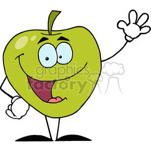 2831-Happy-Cartoon-Apple-Waving-A-Greeting clipart. Royalty-free image # 380419