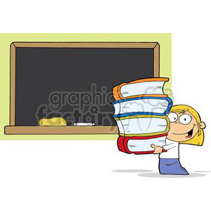 3000-Student-Girl-With-Books-In-Front-Of-School-Chalk-Board clipart. Royalty-free image # 380424