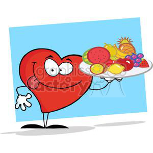 2911-Red-Heart-Holding-Up-A-Plate-Of-Fruits clipart. Royalty-free image # 380439