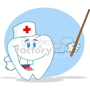 2972-Smiling-Tooth-Cartoon-Character-Holding-A-Blank-White-Sign clipart. Royalty-free image # 380444