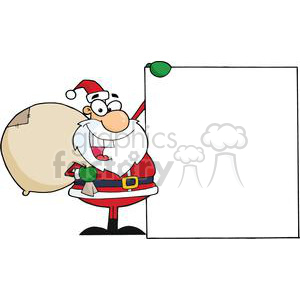 3017-Christmas-Santa-Clause-Presenting-A-Blank-Sign clipart. Commercial use image # 380449