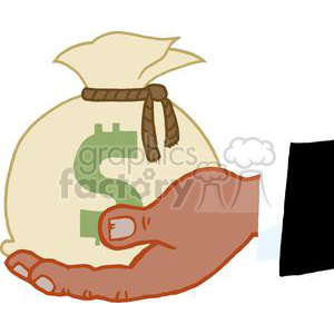 2855-African-American-Bussines-Hand-Holding-Money-Bag clipart. Royalty-free image # 380454