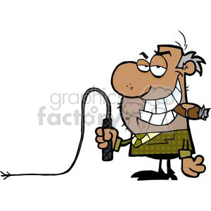 2825-African-American-Big-Boss-With-A-Whip-In-His-Hand clipart. Commercial use image # 380459