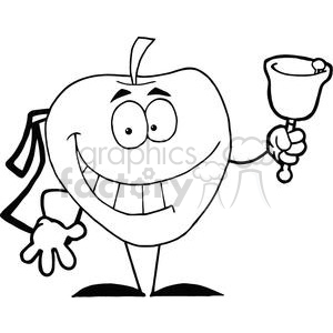 2851-Happy-Apple-Ringing-A-Bell-For-Back-To-School clipart. Royalty-free image # 380464