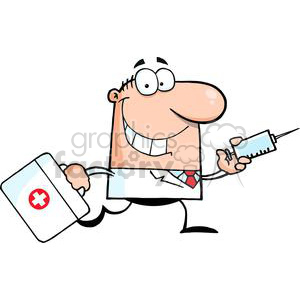 2902-Doctor-Running-With-A-Syringe-And-Bag clipart. Royalty-free image # 380469
