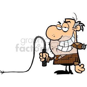 2805-Big-Boss-With-A-Whip-In-His-Hand clipart. Commercial use image # 380484