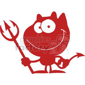 2781-Cartoon-Devil-Black-Silhouette clipart. Commercial use image # 380489