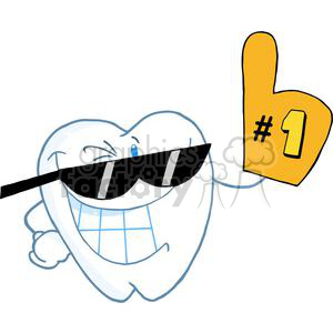 2938-Smiling-Tooth-Cartoon-Character-Number-One clipart. Commercial use image # 380499