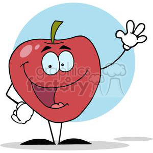 2834-Happy-Cartoon-Apple-Waving-A-Greeting clipart. Royalty-free image # 380514