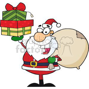 3007-Santa-Holding-Up-A-Stack-Of-Gifts clipart. Royalty-free image # 380539